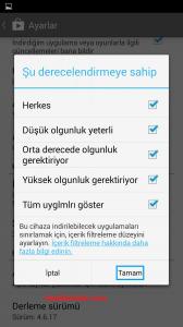 android-martker-içerik-filtreleme