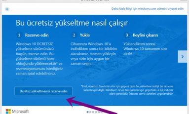 Windows 7 veya 8'i Windows 10 Ücretsiz Yükseltme