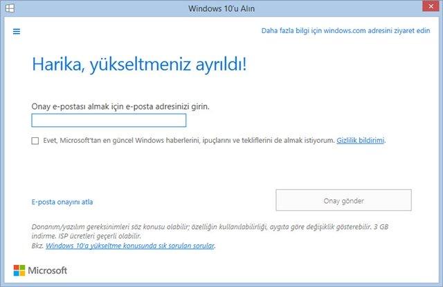 windows 10 yukseltme ayarlari